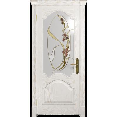 Ульяновская дверь Валенсия-1 ясень белый золото стекло витраж «овал»