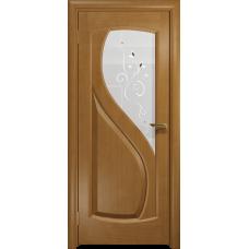 Ульяновская дверь Диона-1 анегри стекло белое пескоструйное «лилия»