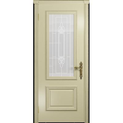 Ульяновская дверь Версаль-1 эмаль слоновая кость стекло белое пескоструйное «кардинал»