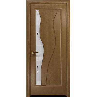 Ульяновская дверь Энжел ясень античный стекло белое пескоструйное «лилия»