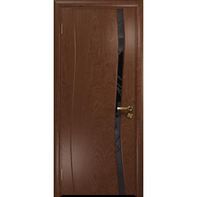 Ульяновская дверь Грация-1 красное дерево стекло триплекс черный 3d «куб»