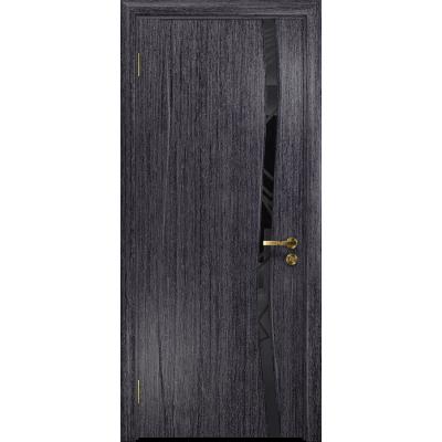 Ульяновская дверь Грация-1 абрикос стекло триплекс черный 3d «куб»
