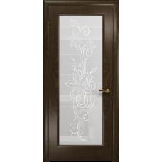 Ульяновская дверь Миланика-1 американский орех тонированный стекло белое пескоструйное «миланика-1»