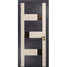 Ульяновская дверь Ронда-2 абрикос/дуб беленый стекло триплекс бронзовый