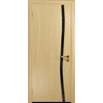Ульяновская дверь Грация-1 ясень ваниль стекло триплекс черный с тканью