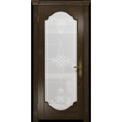 Ульяновская дверь Валенсия-2 американский орех тонированный стекло белое пескоструйное «валенсия»