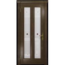 Ульяновская дверь Неаполь американский орех стекло белое пескоструйное «ромб»