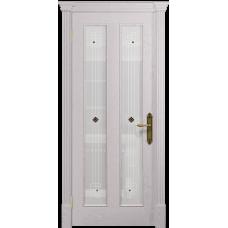 Ульяновская дверь Неаполь ясень белый стекло белое пескоструйное «ромб»