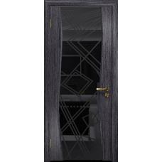 Ульяновская дверь Грация-3 абрикос стекло триплекс черный 3d «куб»