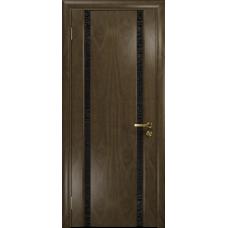Ульяновская дверь Триумф-2 американский орех стекло триплекс черный с тканью