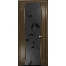 Ульяновская дверь Портелло-2 американский орех стекло триплекс черный «вьюнок» матовый
