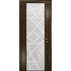Ульяновская дверь Триумф-3 американский орех тонированный стекло триплекс белый 3d «куб»