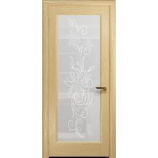 Ульяновская дверь Миланика-1 ясень ваниль стекло белое пескоструйное «миланика-1»