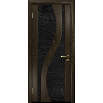 Ульяновская дверь Веста ясень венге стекло триплекс черный с тканью