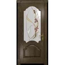 Ульяновская дверь Валенсия-1 американский орех стекло витраж «овал»