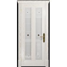 Ульяновская дверь Неаполь ясень белый золото стекло белое пескоструйное «ромб»