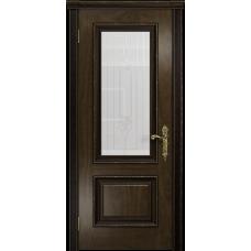 Ульяновская дверь Версаль-1 Декор американский орех тонированный стекло белое с гравировкой «кардинал»