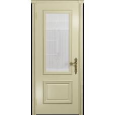 Ульяновская дверь Версаль-1 эмаль слоновая кость стекло белое с гравировкой «кардинал»
