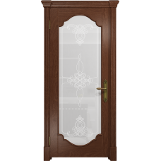 Ульяновская дверь Валенсия-2 красное дерево стекло белое пескоструйное «валенсия»