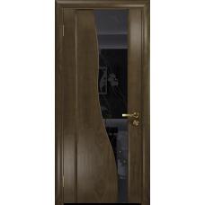 Ульяновская дверь Торелло американский орех стекло триплекс черный «вьюнок» глянцевый