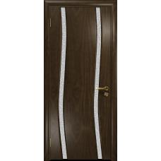 Ульяновская дверь Грация-2 американский орех тонированный стекло триплекс белый с тканью
