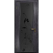 Ульяновская дверь Грация-3 абрикос стекло триплекс черный «вьюнок» матовый