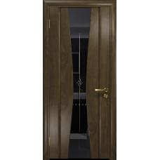 Ульяновская дверь Соната-2 американский орех стекло триплекс черный с гравировкой «звезда»