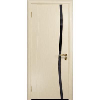 Ульяновская дверь Грация-1 ясень слоновая кость стекло триплекс черный