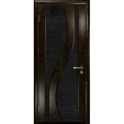Ульяновская дверь Веста ясень венге золото стекло триплекс черный с тканью