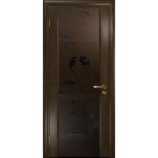 Ульяновская дверь Триумф-3 американский орех тонированный стекло триплекс бронзовый «вьюнок» матовый