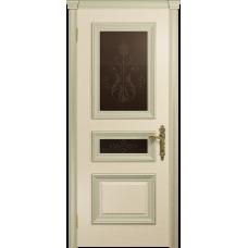 Ульяновская дверь Версаль-2 Декор ясень слоновая кость стекло бронзовое пескоструйное «версаль-2»
