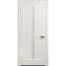 Ульяновская дверь Миланика-2 ясень белый золото стекло белое пескоструйное «миланика-2»