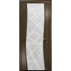 Ульяновская дверь Грация-3 американский орех стекло триплекс белый 3d «куб»