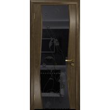 Ульяновская дверь Грация-3 американский орех стекло триплекс черный «вьюнок» глянцевый
