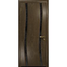 Ульяновская дверь Грация-2 американский орех стекло триплекс черный с тканью