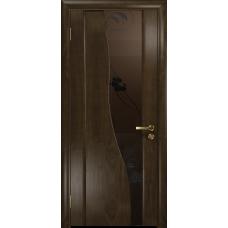 Ульяновская дверь Торелло американский орех тонированный стекло триплекс бронзовый «вьюнок» матовый