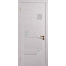 Ульяновская дверь Ронда-1 ясень белый стекло триплекс белый с тканью