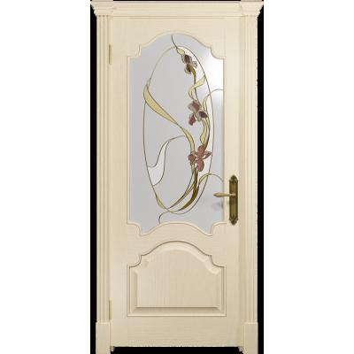 Ульяновская дверь Валенсия-1 ясень слоновая кость стекло витраж «овал»