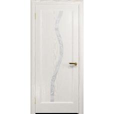 Ульяновская дверь Миланика-4 ясень белый золото стекло белое пескоструйное «миланика-4»