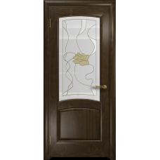Ульяновская дверь Ровере американский орех тонированный стекло витраж «соната»