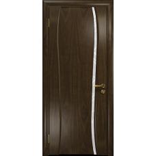 Ульяновская дверь Портелло-1 американский орех тонированный стекло триплекс белый 3d «куб»