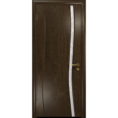 Ульяновская дверь Грация-1 американский орех тонированный стекло триплекс белый 3d «куб»