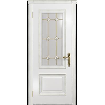 Ульяновская дверь Версаль-1 Декор эмаль белая стекло витраж «адель»
