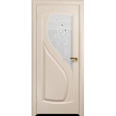 Ульяновская дверь Диона-1 дуб беленый стекло белое пескоструйное «лилия»