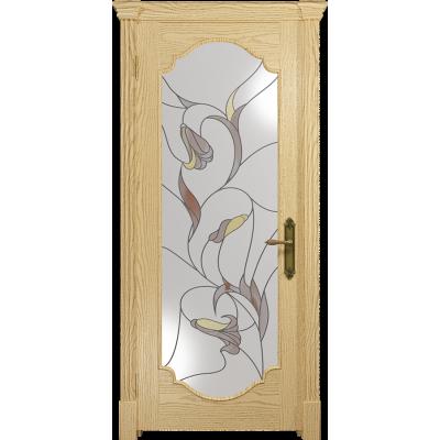 Ульяновская дверь Валенсия-2 ясень ваниль стекло витраж «кампанелла»