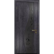 Ульяновская дверь Фрея-2 абрикос стекло триплекс черный «сабина» матовый