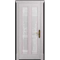 Ульяновская дверь Неаполь ясень белый стекло белое пескоструйное «порта»