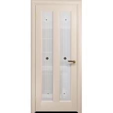 Ульяновская дверь Тесей дуб беленый стекло белое пескоструйное «ромб»