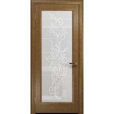 Ульяновская дверь Миланика-1 ясень античный стекло белое пескоструйное «миланика-1»