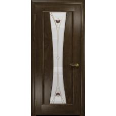 Ульяновская дверь Соната-1 американский орех тонированный стекло витраж «тюльпан»